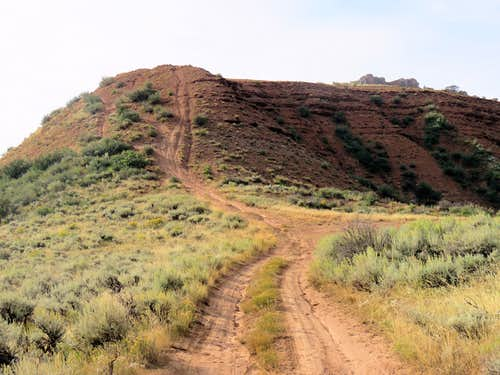 Steep red slope