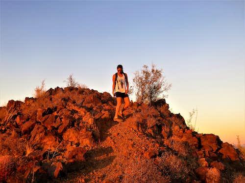 On the summit at sundown