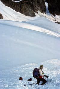 Descending the Gooseneck Glacier - Note the Avalanche Runouts at the Bottom