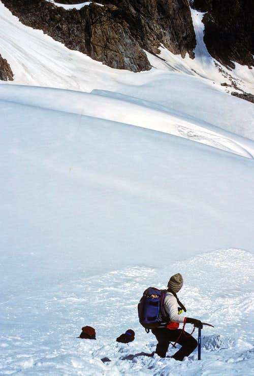 Descending the Gooseneck Glacier - Note the Avalanche Runouts at the Bottom