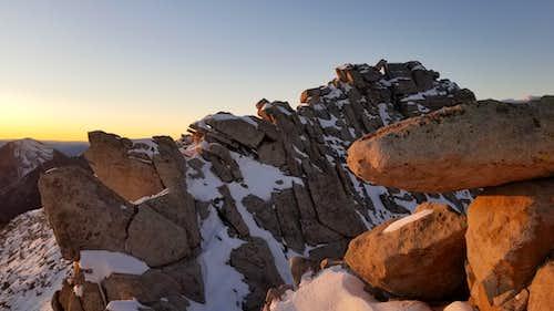 The Lone Peak summit from the ridge.