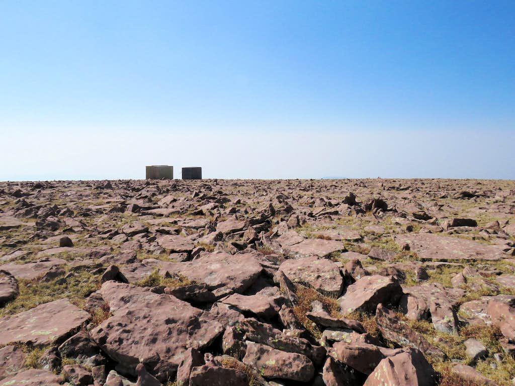 Structures on the summit of Marsh Peak