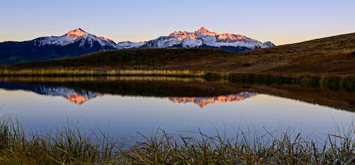 Wilson Peak and Sunshine Mountain Alpenglow Reflection