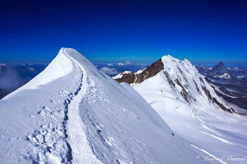 Summit ridge with Lyskamm & Matterhorn