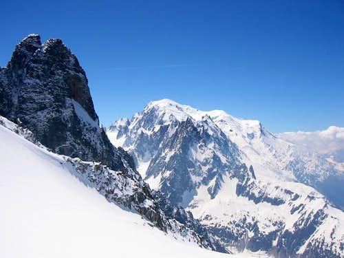 Les Drus (and Mont Blanc)