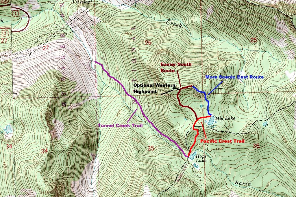 Map of the routes up Sopwith Camel