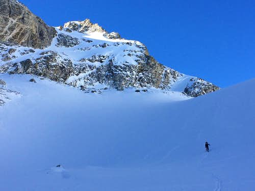 JD skinning up the South Fork of Garnet Canyon on the approach to the South Teton, winter 2017