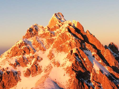 Closeup of the winter alpenglow on the Middle Teton and Grand, seen from the South Teton