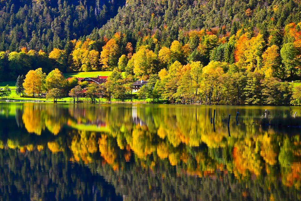 Autumn foliage at the Thumsee lake