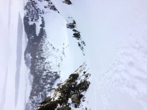 Looking down from the top of the Spoon Couloir in winter