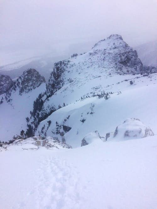 The top of the Spoon Couloir of Disappointment Peak in winter