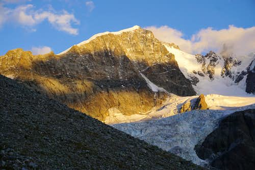 Alpenglow on Piz Bernina & the famous Biancograt