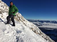 JD posing at the summit of the South Teton, January 2017
