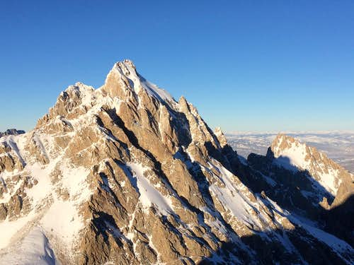 The Grand, Middle, and Teewinot seen from the summit of the South Teton, January 2017