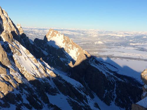 Closeup of Teewinot seen from the summit of the South Teton, January 2017
