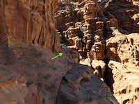 Slab traverse alongside canyon