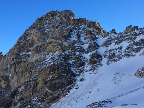 The Northwest Couloirs of Nez Perce seen in winter