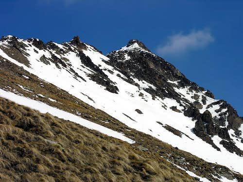 Punta Coppi <i>(3231 m)</i> seen climbing punta di Arpisson <i>(3030 m)</i>