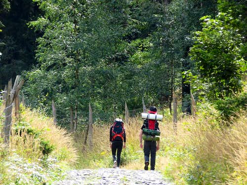 Hikers in the Karkonosze mountains