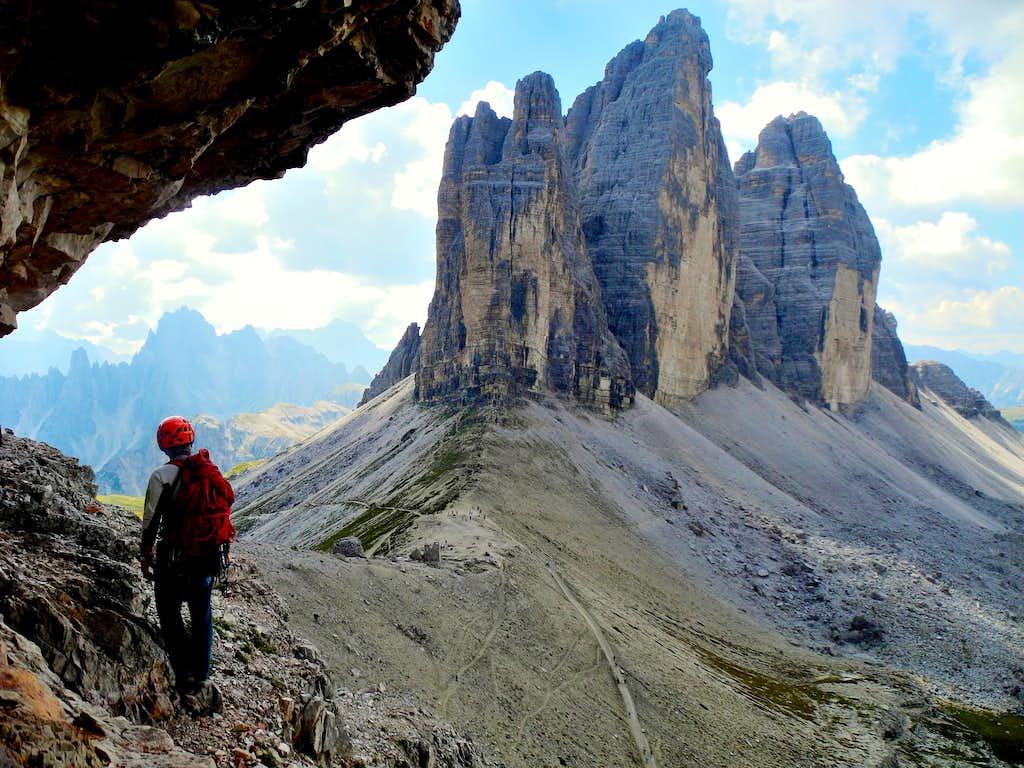 Lavaredo North walls from Paterno descent route