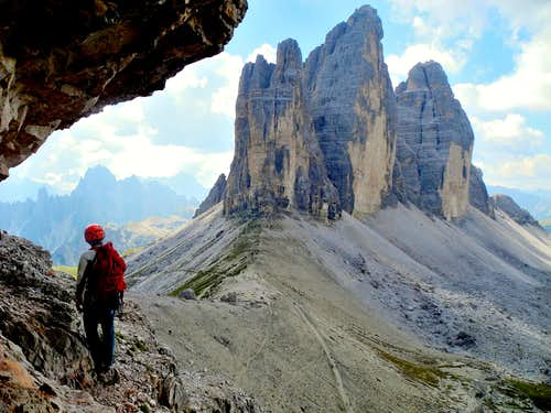 Lavaredo North walls from Paterno descent route