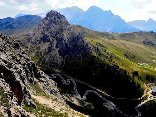 Sass Becè, Marmolada and the winding Pordoi road seen from Torre dell'Antonio