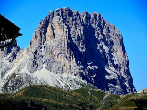 The mighty Sassolungo as seen when driving to Passo Pordoi