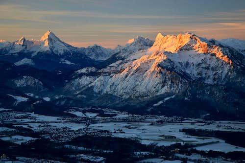 Watzmann, Hochkalter and Untersberg in sunrise glow