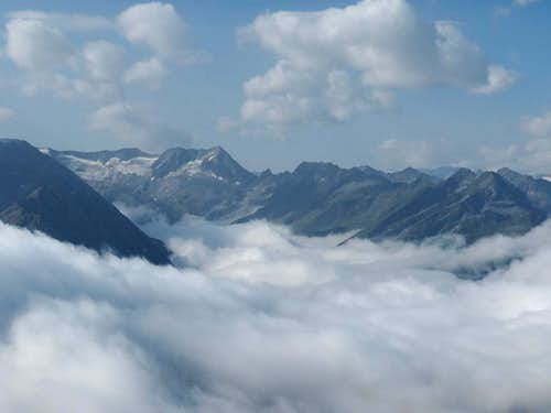Zillertal Alps with clouds below