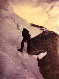 Steep ice below rock band