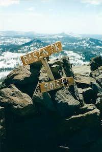 Basin Peak summit sign