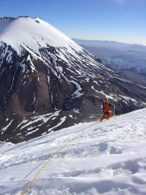 skiing down the icy slopes