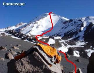 our ascent route via south face