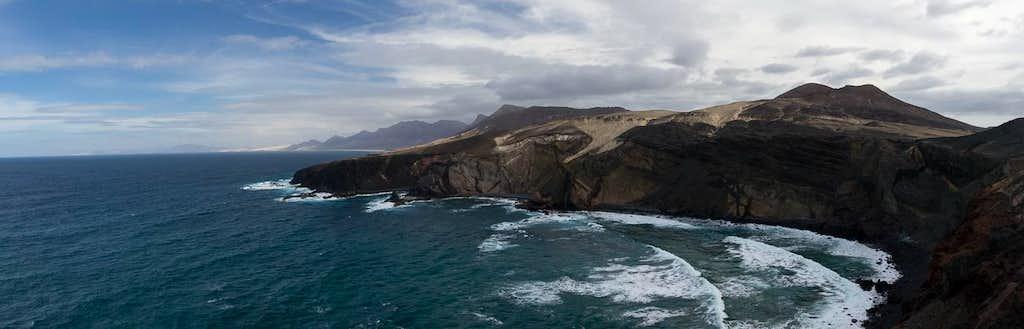 Looking along Jandia's north coast from Punta Pesebre