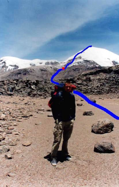 ascent route with camp place...