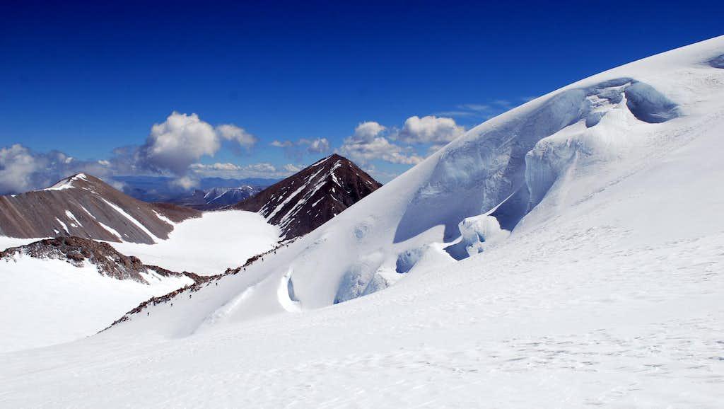 Climbers on the NW Ridge