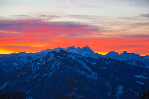 View to the Dachstein at sunrise
