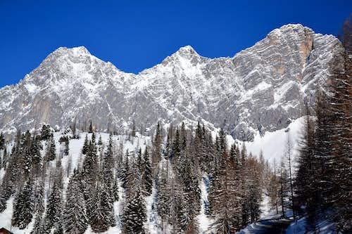 Torstein, Mitterspitze and Hoher Dachstein in deep winter