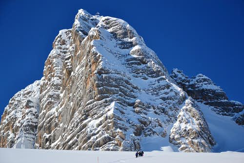 On the Hallstatt glacier at the foot of Hoher Dachstein (2995 m)