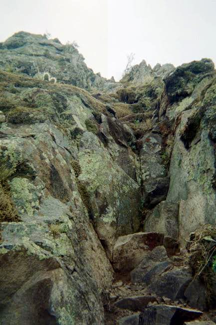 The rock scramble section...