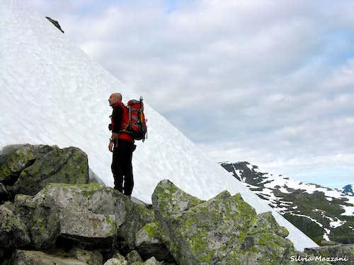 Early summer steep snow-slope on Eggjenibba NNW ridge