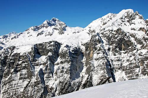 Triglav and Rjavina from Brda