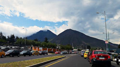 Cerro Sincholagua (3,358 m / 11,014 ft : LEFT) and Cerro La Marca (3,083 m / 10,112 ft : RIGHT) as seen from Monumento Mitad del Mundo.