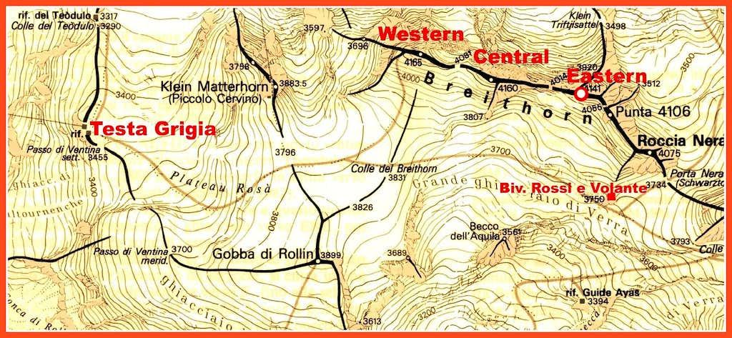 Breithorn-Roccia Nera map