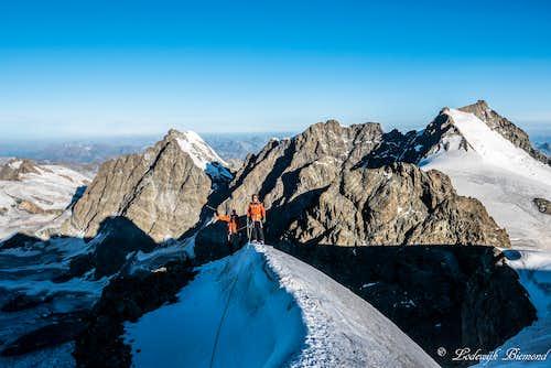 Myself on the summit ridge of Piz Argient (12943 ft / 3945 m)