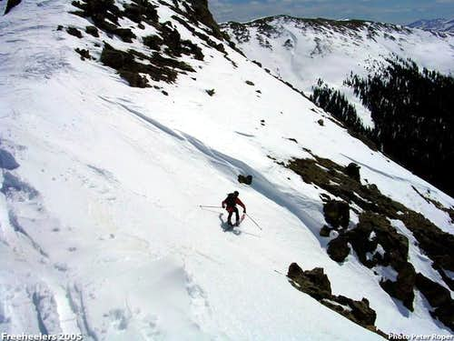 Skiing Coon Hill\'s south face.