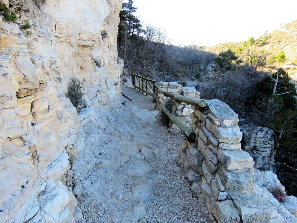 Bridge traversing cliff