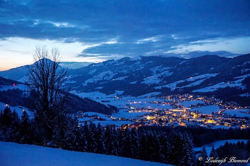 Kirchberg by Night with Hohe Salve (1830m)