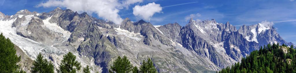 Italian side of the Mont Blanc range from Maison Vieille