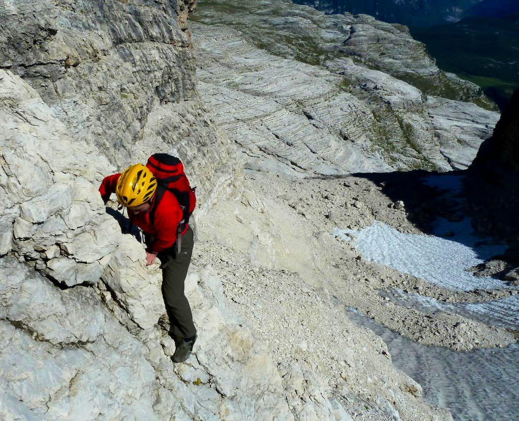 Downclimb on Cima Grosté South side